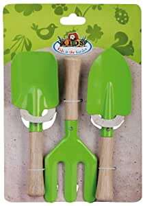 Esschert Design KG106 28 x 20 x 4cm Plastic/ Wood Children's Garden Fork and Trowel Set - Multi-Colour