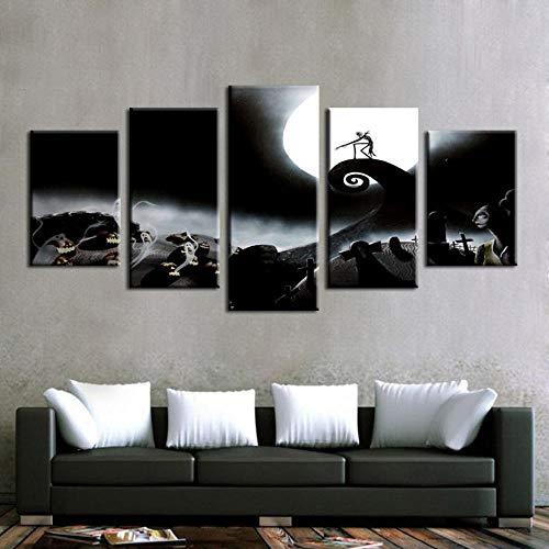 wand Gemälde Wohnkultur Rahmen 5 Stücke Nightmare Before Christmas Poster Halloween Bilder Schlafzimmer Wandkunst-30X40Cmx2 30X60Cmx2 30X80Cmx1 ()