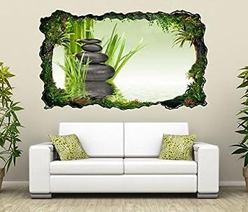 3D Wandtattoo Wellness Zen Steine Bambus Spa Bild Selbstklebend Wandbild Sticker Wohnzimmer Wand Aufkleber 11H583 Grsse Fca