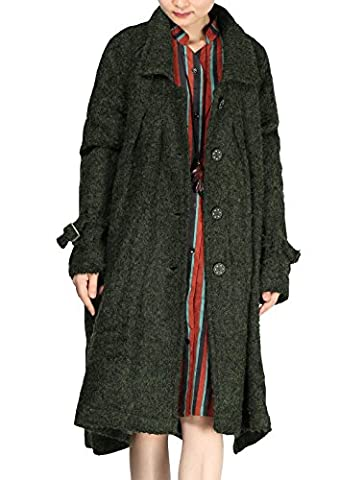 Voguees Frauen-Button-Down-Seiten-Schlitz-Langer Mantel mit Taschen M Schwärzlichgrün (Button-down-cotton Cardigan)