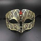 SXFMJ Máscara de Halloween Máscaras de Navidad Máscara de Hombre Máscara de Media Cara Vintage Príncipe Prom Personalidad Máscara de Misterio Mascarada Máscara de Pasarela,E