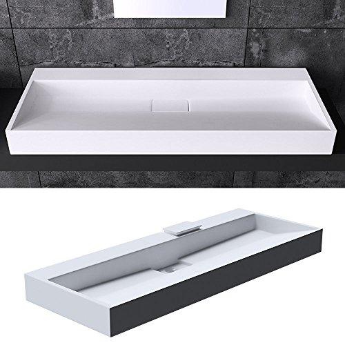 Preisvergleich Produktbild BTH: 120x46x11 cm Design Waschbecken Colossum19, ohne Armaturenloch, aus Gussmarmor, Waschtisch, Waschplatz