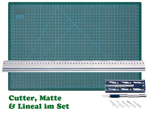 Wedo 078722 Cutter Hobbymesser Set silber inklusiv 6 Ersatzklingen im Set mit Wedo Schneidematte 45 x 30 cm und Schneidelineal 50cm Alu mit Rutschbremse (1, Cutter + Matte + Lineal 50cm) (Lineal, Cutter)