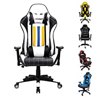 Bespivet Gaming Chair Ergonomic Swivel Office PC Desk Chair Computer Chairs for Home and Office Heavy Duty Reclining High Back with Lumbar Cushion (black,yellow, white)