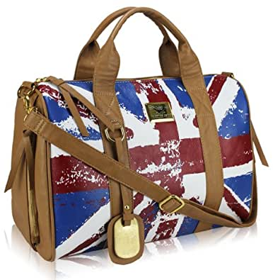 "Sac à main tendance ""Fashion Only"" Simili Cuir - Anse + Bandoulière - Motif Drapeau Anglais UK United Kingdom Façon Vintage - Coloris Marron Tan - 41 cm x 33 cm"
