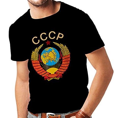 T-shirt pour hommes T-shirt Union Soviétique СССР drapeau Russe t-shirt (X-Large Noir