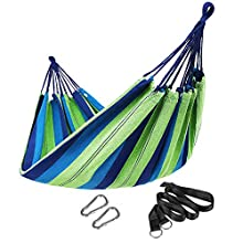 SONGMICS Hammock, 210 x 150 cm, Double Hammock with Mounting Straps, Carry Bag, 300 kg Load Capacity, for Terrace, Balcony, Garden, Outdoor, Camping, Blue and Green Stripes GDC15L