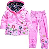 WWZ Kids Girls' Raincoat & Pants Suit Windproof and Waterproof Hooded Coat Snow & Rainwear Jackets Outerwear with Trousers