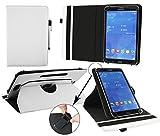 Emartbuy® Denver TIQ 10212 10.1 Zoll Tablet PC Universal ( 9 - 10 Zoll ) Weiß PU Leder 360GradRotierendeStandFolioGeldbörseTascheHülle + Weiß Eingabestift