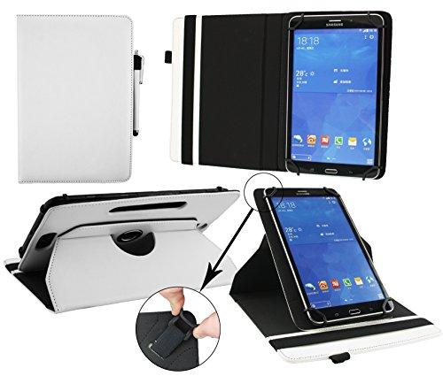 Emartbuy® Denver TAQ-10182 10.1 Zoll Tablet Universal (9-10 Zoll) Weiß Premium PU Leder 360GradrotierendeStandFolioGeldbörseTascheHülle + Weiß Eingabestift