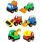 6 Pcs Pull Push Back Truck Car Toy Se...