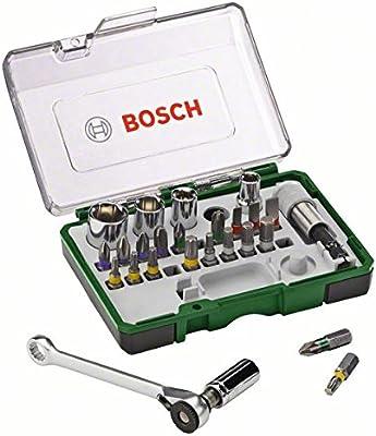 Bosch 2607017160 - Set con 27 unidades para atornillar, incluye puntas, vasos y llave de carraca
