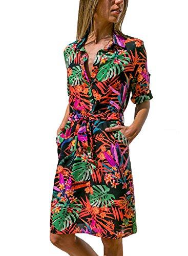 GOSOPIN Womens Long Sleeve Color Block Print Button Down Tie Waist Shirt Dress with Pocket