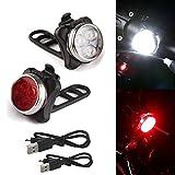 LED Fahrradlicht Set,USB Wiederaufladbare Fahrradleuchte,Clip Lampe,Reifen Neonlicht Zubehör Fahrradlicht,wasserdichte+Ultra Bright LED,Rücklicht,Fahrradlichter mit 5 blinkenden Modi,2 USB Kabel (A)