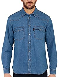 407891d59633 SEA BARRIER Camicia Uomo Manica Lunga in Jeans Extra Art New Tonga