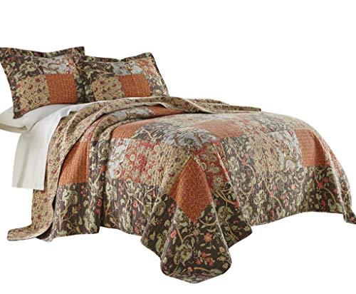 Chezmoi Collection Georgia 3-teiliges Bettwäsche-Set mit Blumenmuster, Patchwork, Vintage-Stil, gewaschen, 100% Baumwolle Twin Multi - Cottage Bed-twin Bed