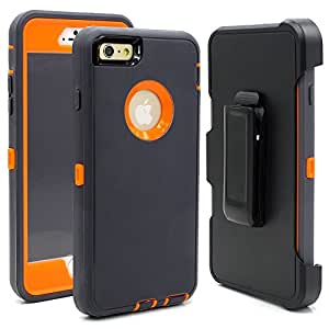 Hybrid Rubber Plastic Impact Defender Rugged Hard Case ,iPhone 6 Protective Case,iPhone 6S Protective Case, Screen Protector Built-in ,With Belt Clip Holster,Dark Grey/Orange