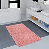 Paco Home Moderner Badezimmer Teppich Einfarbig Microfaser Kuschelig Gemütlich In Rosa, Grösse:80x150 cm
