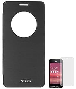 DMG Circle Window Flip Book Cover Case for Asus Zenfone 6 (Black) + Matte Screen