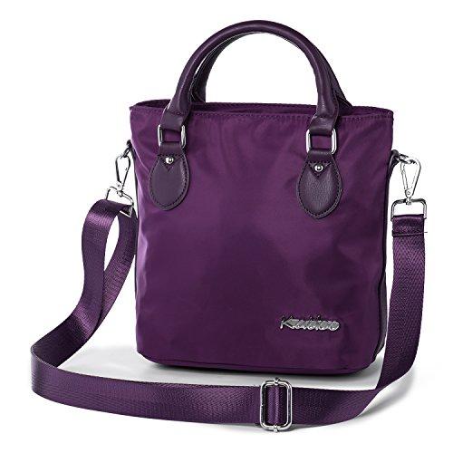 Damen Henkeltaschen Kleine Umhängetasche Mini Handtasche Praktisch Schultertasche für Frauen Mini Nylon Wasserdicht Tasche mit Vielen Reißverschlusstaschen Katloo (Lila)