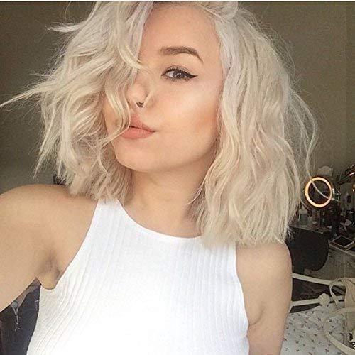 Ugeat Lace Front Wig Echthaar Leichtestes Naturlich Remi Human Hair Peruvian Peruke Bob Style 130% Deep Wavy 12zoll - Remi Lace Perücken