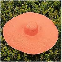 Fengdp Sombra 25cm de ala Ancha de Gran tamaño Sombreros de la Playa for Las Mujeres Sombrero de Paja Grande Protección UV Plegable Parasol Sombrero al por Mayor de Dropshipping niña (Color : Orange)