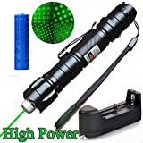 Areanas High Power 532nm Green UV Beam PowerPoint Clicker Demo - Linterna de viaje para exteriores (incluye batería 18650 + cargador), color verde