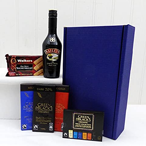 Baileys & Chocolate Survival Kit in Blue Gift Box Hamper with 350ml Baileys - Gift ideas for Christmas presents, Birthday, Anniversary and Congratulations Presents
