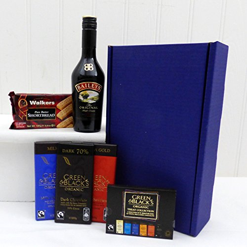Baileys & Green and Black Chocolate Survival Kit Presented in a Blue Gift Box Hamper - Gift ideas for Christmas, Valentines, Mothers Day, Birthday, Wedding Anniversary, Business and Corporate