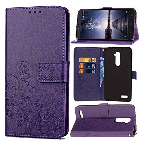 Guran® PU Ledertasche Case für ZTE Zmax Pro Z981 Smartphone Flip Cover Brieftasche und Stent Funktionen Hülle Glücksklee Muster Design Schutzhülle - Lila