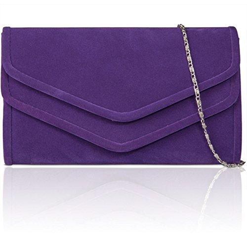 xardi nuovo in finta pelle scamosciata Donna Frizione Borsa Designer partito di sera Borse da Regno Unito purple