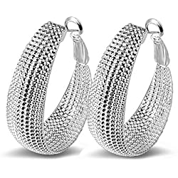 Hosaire 1 Paar Ohrringe Damen Ohrhänger Silber Edelstahl-Stud Earring Mode Dangler