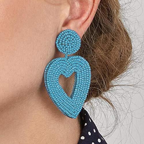 en Candy Farbe Herz Perlen Charme Ohrstecker Partei Schmuck Geschenk Ohrringe für Frauen rot ()