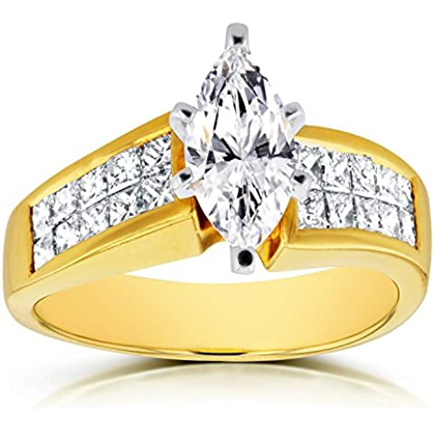 Marquise Anello Di Fidanzamento Con Diamante 21/8CTW in oro giallo 18K (Certificato) _ 6