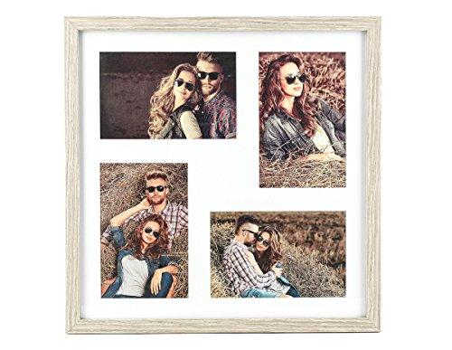 levandeo Holz Bilderrahmen Farbe: Eiche gekälkt hochwertig verarbeitet für 4 Fotos 4mal 10x15cm mit Glasscheibe - zum Aufhängen Fotogalerie Fotocollage Fotorahmen Bildergalerie