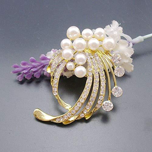 MYHMG Brosche Handmade Beaded Flower Rhinestone Jewelry Pin Brooch, Gold/Rhodium/Black Plated,