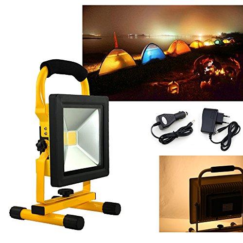 Hengda® 50W LED Warmweiß Scheinwerfer Akku Fluter IP65 Scheinwerfer 3000-3200K Wandstrahler Wasserdicht