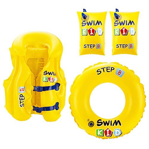VAPIAO Kinder 3 in 1 Schwimm Lern Set [Schwimmflügel, Schwimmweste & Schwimmreifen] ideal für das Schwimmbad, Strand, Urlaub, See oder Pool in gelb