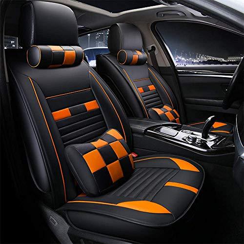YWX Autositzbezug, 3D-Stereo-Sitzbezug, verschleißfester, wasserdichter Vier-Jahreszeiten-Sitzbezug, EIN komplettes Set mit fünf universellen Sitzen,Orange Ford Taurus Stereo