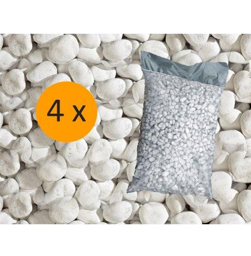 Metroquadrocasa 4 Sacchi da 25 kg ciottoli ornamentali di marmo Bianco Carrara 25/40 mm giardino