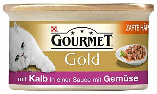 Gourmet Gold Katzenfutter Zarte Häppchen in Sauce mit KalbundGemüse, 12er Pack (12 x 85 g) Dosen