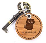 Mr. & Mrs. Panda Rundwelle Schlüsselanhänger Eule Seitenflügel - Eule, Owl, Wald, Wood, Nachtaktiv, Maus, Eulen Schlüsselanhänger, Anhänger, Taschenanhänger, Glücksbringer, Schlüsselband