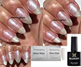 BLUESKY sj28 Kristall Perle Weiß Schneeflocke Glitzer Nagellack-Gel UV-LED-Soak Off 10 ml plus 2 homebeautyforyou Shine Tücher