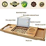 Unuber Bambus Badewannenablage ausziehbar mit Weinglas-Halterung und iPad-Buch-Ablage, 70-104 x 6,4 x 23,6 cm (B x H x T) - 5