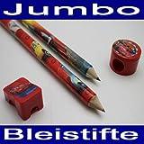 Jumbo Bleistift SET 4 tlg., Disney Cars, 2x XL Stift, Radierer, 2x Anspitzer (LHS)