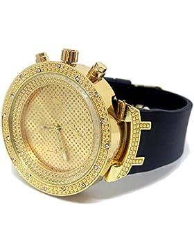 Bling Bling Online Klassische Armbanduhr, Pavé, 3D Lünette, Hip Hop, funkelnd, Gold & Schwarz