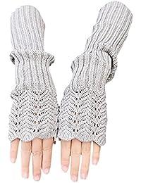 TININNA Chaud Gants d'hiver Thermiques Tricot Laine de Sans Doigt Gloves Pour Femme
