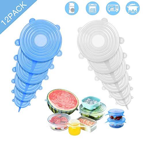 Lovexiu coperchio silicone, coperchio in silicone estensibile 12 pezzi, coperchi silicone pentolae, coperchio silicone alimenti per contenitori di tutte le dimensioni e forme