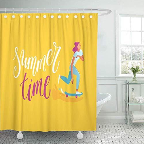 Co5675do Shower Curtain Polyester Bath Curtain 72x72 Inch Summer in Modern Flat Linear Happy Girl Skateboarding Young Character Riding Skateboard Hand Bathroom Decor