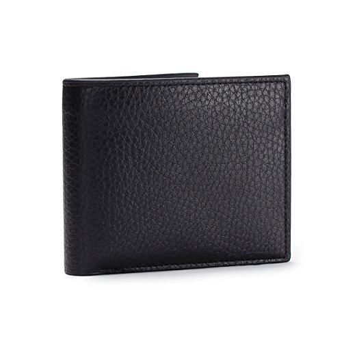 Geldbörse Herren PU-Leder, Herren Portemonnaie Geldbeutel mit Kreditkarten Schwarz (Kein Münzfach) (Gucci Kleinen Geldbeutel)